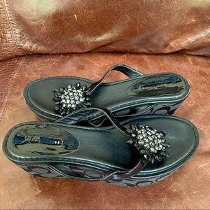 Coach Patent Leather Wedge/Platform Sandals